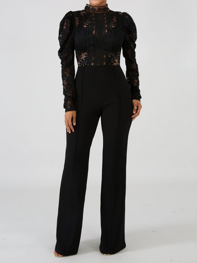 Black Patchwork Lace Cut Out Mandarin Collar Puff Long Sleeve Flare Bell Bottom Long Jumpsuit Pants