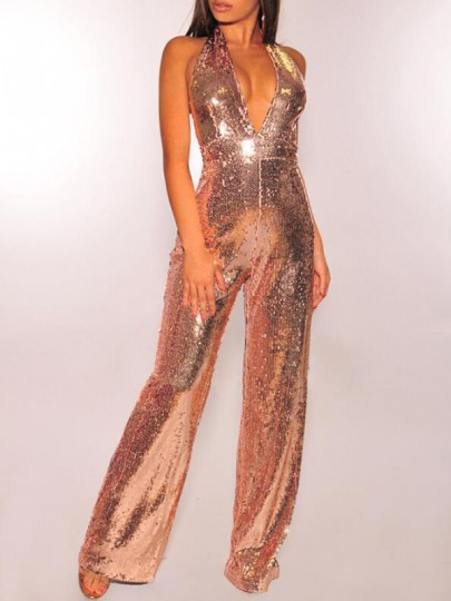 Rose Gold Sequin Glitter Deep V-neck Backless Sparkly Birthday NYE Wide Leg Long Jumpsuit