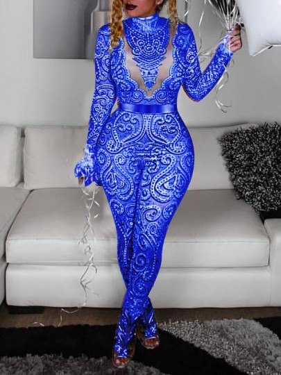 Blue Floral Grenadine Lace Bodycon Long Sleeve Party Clubwear Long Jumpsuit