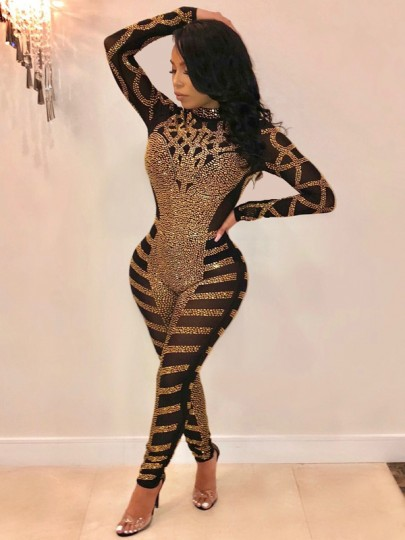 Black Patchwork Grenadine Rhinestone Sheer Bodycon Long Sleeve Sparkly Glitter Party Long Jumpsuit