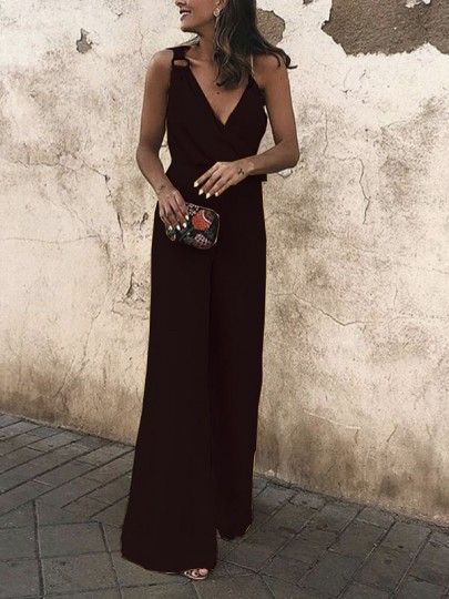 Black Buckles Bodycon Deep V-neck Going out Jumpsuit Pant