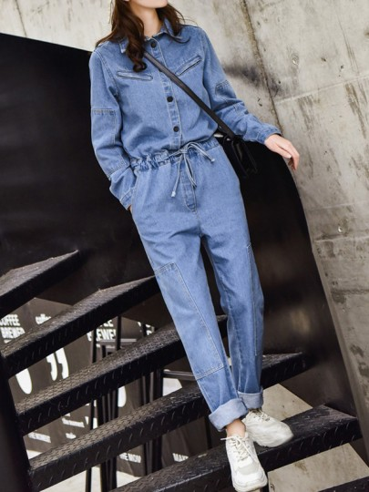 Light Blue Drawstring Pockets Single Breasted Turndown Collar Long Sleeve Fashion Long Jumpsuit