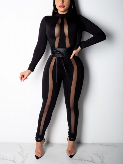 Black Patchwork Grenadine Cut Out Bodycon Long Sleeve Party Long Jumpsuit