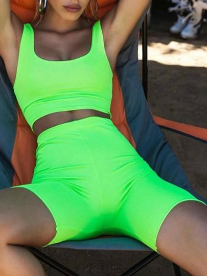 Green Fluorescence Shoulder-Strap U-neck Elastic Waist Sport Biker Short Jumpsuit