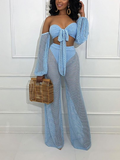 Blue Cut Out Grenadine Sheer Bandeau Off Shoulder Lace-up Two Piece High Waisted Wide Leg Long Beach Bikini Cover Up Jumpsuit Pants