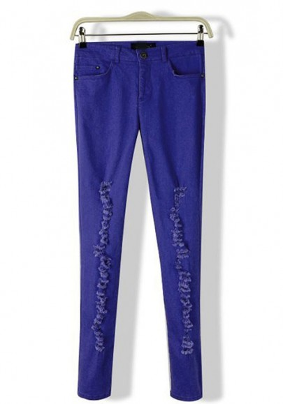 Purple Plain Mid Waist Long Wrap Denim Pants