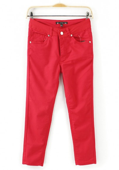Red Plain Zipper Seven's Pants