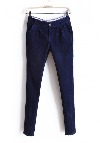 Dark Blue Button Fly Long Skinny Corduroy Pants