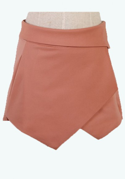 Orange Asymmetrical Pockets Mid Waist Cotton Blend Shorts