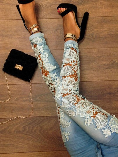 Blue Patchwork Lace Hollow-out Fashion Long Jean Pants