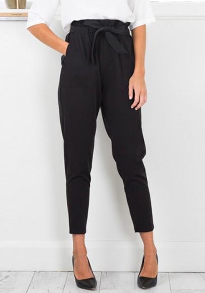 pantalons carotte avec noeud papillon taille lastiques occasionnel femme noir pantalon bas. Black Bedroom Furniture Sets. Home Design Ideas