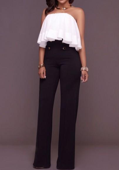 Pantalons jambes évasé avec bouton fermeture éclair culotte haute mode femme noir