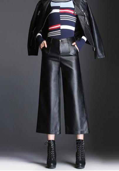 Pantalons capris poches cuir pu plus culottes taille haute taille taille noir