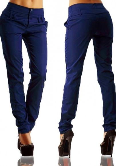 Pantalons longues boutons élastique taille haute décontracté bleu