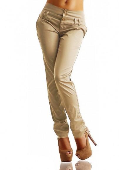 Khaki AnstecknadelSchaltflächen Elastische Taille Hoch taillierte beiläufige lange Hosen