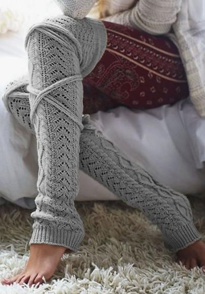 Hellgrauer Schleife Schlank Beiläufige Kabel-Knit-Aufladungs Socken Leggings Kurz Damen Günstig
