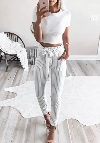 Pantalons longue rayée avec noeud papillon ceinture volantée haute slim décontracté femme blanc