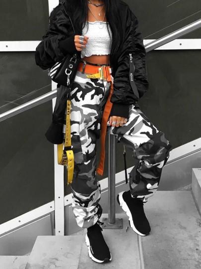 Grey Camouflage Print Pockets High Waisted Casual Camo Long Cargo Pants