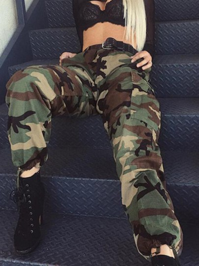 Army Green Camouflage Pockets Drawstring Zipper High Waist fatigue Cargo Pants
