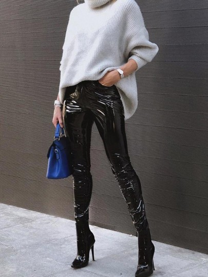 Black Zipper High Waisted Fashion PU Leather Long Pants