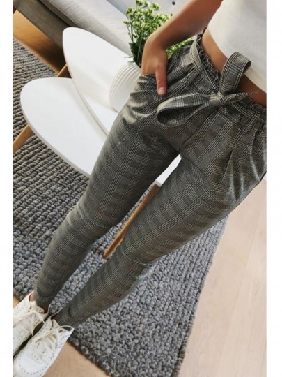 Pantalones largos bolsillos A rayas cinturón de moda gris oscuro