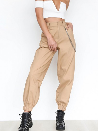 Khaki Chains Pockets Drawstring Zipper High Waisted Going Out Casual Long Cargo Pants