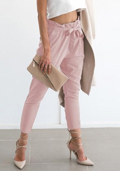 Pantalons longue avec noeud papillon ceinture taille haute mode élégant rose femme