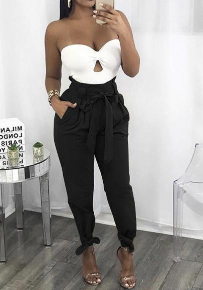 Black Belt Pockets Drawstring Waist Casual Streetwear Long Cargo Pants