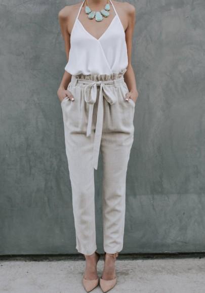 Khaki Taschen High Waist Bindegürtel Beiläufige Damen Nine's Hose Mit Schleife Paperbag Hose