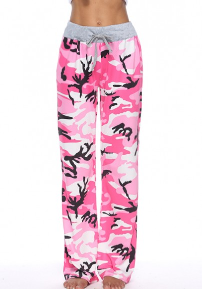 Pink Camouflage Print Drawstring High Waisted Long Pants
