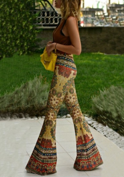 Yellow Tribal Print High Waisted Retro Party Flare Bell Bottom Long Pants