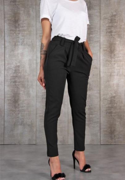Black Plain Pockets Drawstring Waist Fashion Long Pants