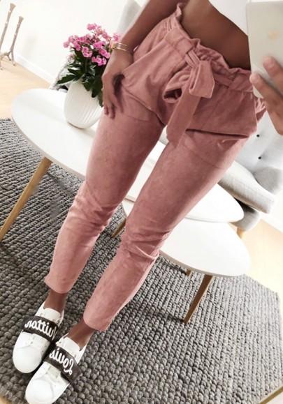Rosa Taschen mit Bindegürtel Schleife Hohe Taille Beiläufige Damen Hosen Stoffhose Karottenhose
