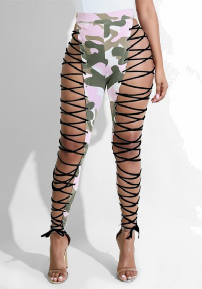 Pantalon longue imprimé découpes irrégulière camo à lacets taille haute camouflage rose