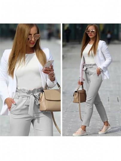 Pantalones largos bolsillos volados cordón cintura casuales gris claro