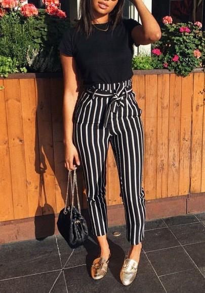 Pantalons à rayé avec noeud papillon ceinture culotte haute slim mode femme noir et blanc