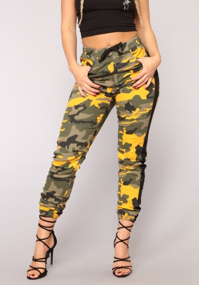 Pantalons longue militaire culotte haute lâche décontracté camouflage femme jaune