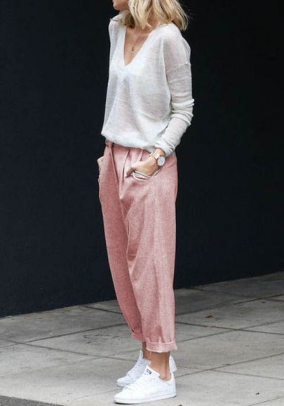 Rosa Taschen Tunnelzug Hohe Taille Beiläufige Nine's Hose Damen Mode Stoffhose