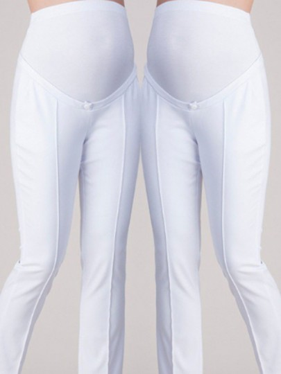 0fc9510f267d3 White High Waisted Maternity Elegant Plus Size Casual Pencil Long Pants -  Happy Hour