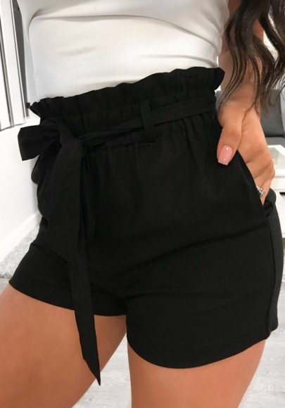 Shorts écharpes poches taille haute décontracté noir