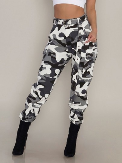 White Camouflage Print Pockets Buttons High Waisted Long Pants