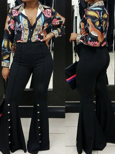 Black Buttons Casual High Waisted Bell Bottomed Flares Long Pant
