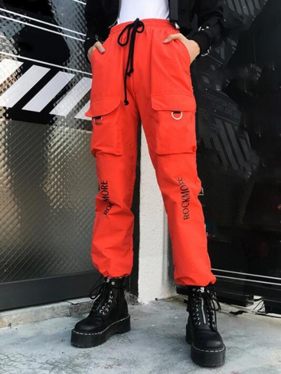 Pantalones largos monogram rockmock bolsillos hippie de cintura alta haren de carga casual naranja