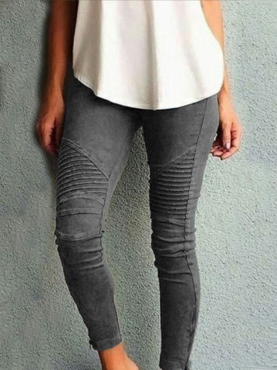 Grey Pleated High Waisted Casual Long Pants