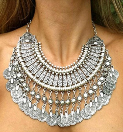 Silver Coin Vintage Bib Necklace