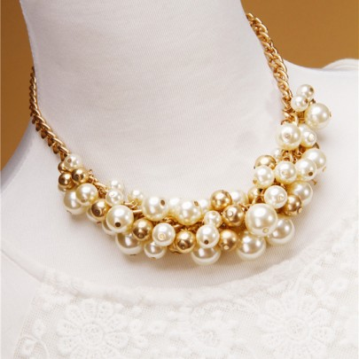 Golden Fashion Alloy Beads Pearl Necklace