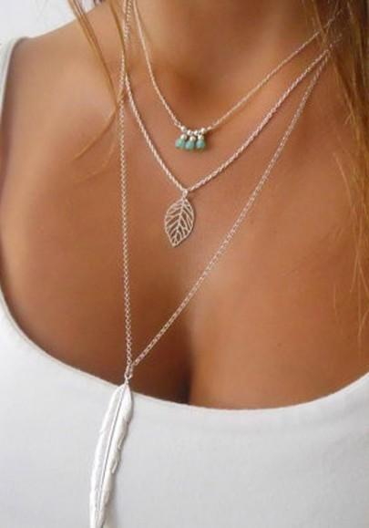Collier avec pendentif alliage mode multicouche laisse des plumes de perles argent