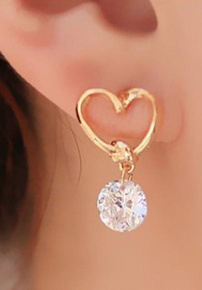 Boucles d'oreilles chute de coeur en alliage de strass percé de mode d'or