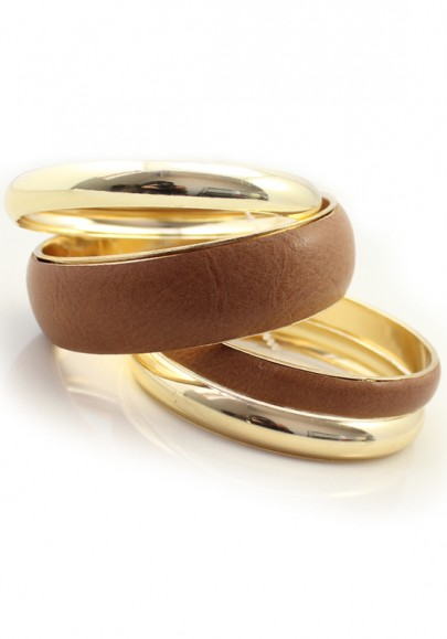 Lovely Multilevels Golden Leather Bangle Bracelet