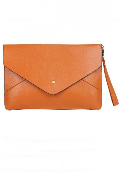 Brown Madder Plain PU Leather Envelope Clutch